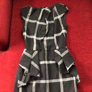 Karen Millen black plaid check dress altered 6